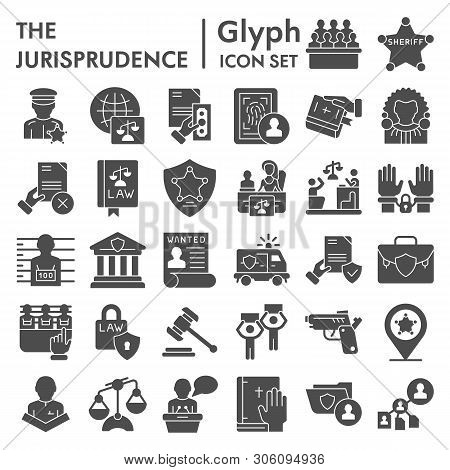 Jurisprudence Glyph Icon Set, Lawsymbols Collection, Vector Sketches, Logo Illustrations, Court Sign