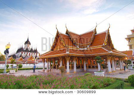 Thai architecture: Wat Ratchanadda Loha Prasat temple poster