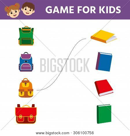 Matching Game, Educational Game For Kids. Find  The Appropriate Book And Backpack. Children Funny Ri