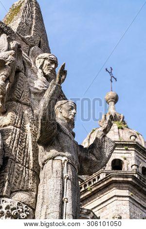 Santiago De Compostela, Spain; May 23, 2019: San Francisco De Asis Monument And San Francisco Church