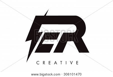Er Letter Logo Design With Lighting Thunder Bolt. Electric Bolt Letter Logo Vector Illustration.