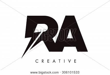 Ra Letter Logo Design With Lighting Thunder Bolt. Electric Bolt Letter Logo Vector Illustration.