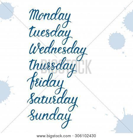 Days Of A Week, Hand Written Sign Set, Monday, Tuesday, Wednesday, Thursday, Friday, Saturday, Sunda
