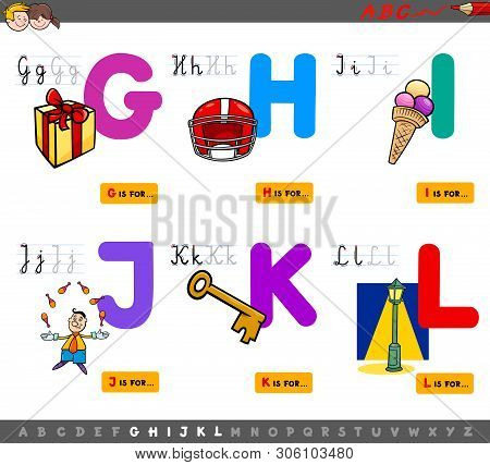 Cartoon Illustration Of Capital Letters Alphabet Educational Set For Reading And Writing Learning Fo