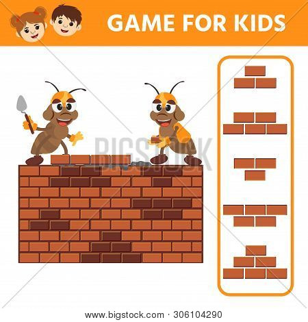Educational kids painting game. Find an element of a brick wall. r Ants builders. Children funny riddle entertainment. Activity sheet poster