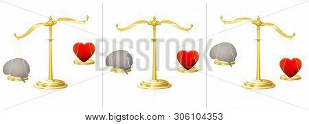 Mind and soul balance scale with heart and brain. Symbolic for equivalence of emotion and intellect, of feeling and thinking. Equal and unequal weightiness. Vector on white.
