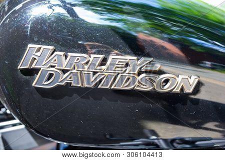 Wunstorf / Germany - June 7,2019: Harley Davidson Logo On A Black Motorcycle. Harley Davidson  Is An