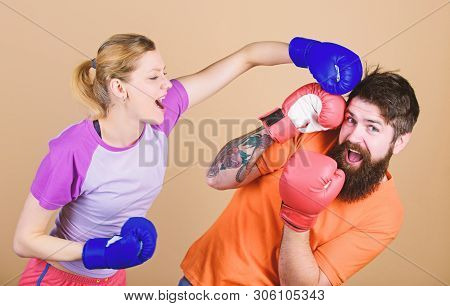 Opportunity May Knock. Knockout And Energy. Couple Training In Boxing Gloves. Happy Woman And Bearde