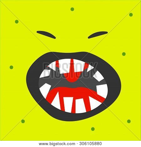Emoji Monster With Open Mouth And Fangs. Cartoon Character Monster Toothy Emoticon Screaming. Vector