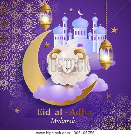 Eid Al-adha Banner. Card For Traditional Muslim Holiday Kurban Bayram With Sheep, Moon, Golden Ornam