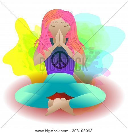 Yoga. Prayer. Pacific Symbol Of Peace. Woman In Meditation Lotus Position, Vector Flat Illustration.