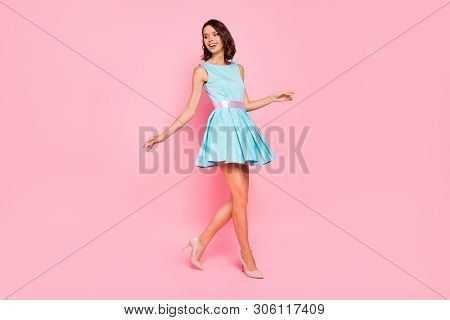 Full Length Side Profile Body Size Photo Beautiful She Her Lady Going Graduation College University