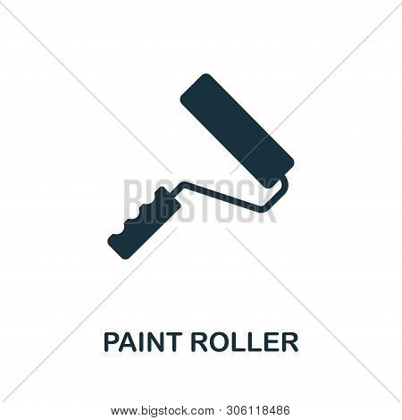 Paint Roller Vector Icon Symbol. Creative Sign From Construction Tools Icons Collection. Filled Flat