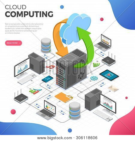 Data Network Cloud Computing Technology Isometric Business Concept With Network Server, Computer, La
