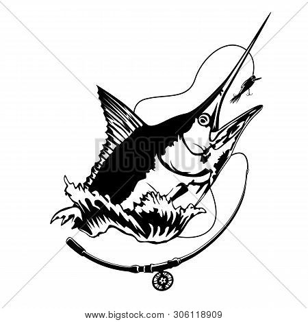 Fishing Emblem Of  Marlin Isolated On White. Bone Fish Logo In Blue Colours. Ocean Theme Background.