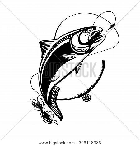 Rainbow Trout Jumping Out Water.salmon Isolated On White Background. Concept Art For Horoscope, Tatt