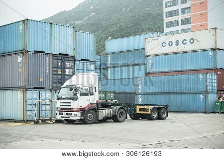 Tsing Yi, Hong Kong-13 June 2019:the Container Is Loaded / Unloaded At Kwai Tsing Container Terminal