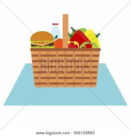 Vector Illustration With Wicker Picnic Basket With Food And Drink. Family Picnic Concept. Summer, Sp