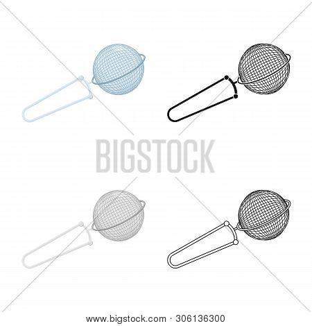 Vector Illustration Of Strainer And Tea  Symbol. Collection Of Strainer And Tool  Stock Symbol For W