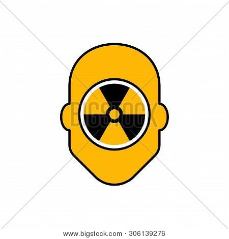 Flat Linear Design. Radiation Icon For Applications, Web Sites And Public Use. Silhouette Of A Human