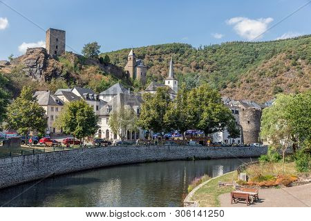 Esch-sur-sure, Luxembourg - August 22, 2018: Cityscape At Medieval Village With River And Hill With