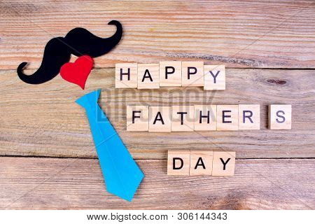 Happy Fathers Day On Wooden Background. Symbols Of Love, Father, Man. Happy Valentines Day Backgroun