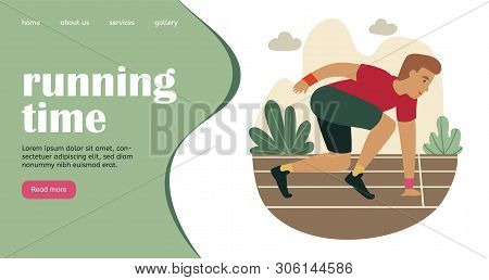 Running Time Landing Page. Cartoon Sprinter Ready To Sprint On Starting Line In Park. Creative Websi