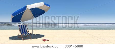 Summer beach scene with umbrella, empty chaise-longue and sea with waves in the background (3d rendering)