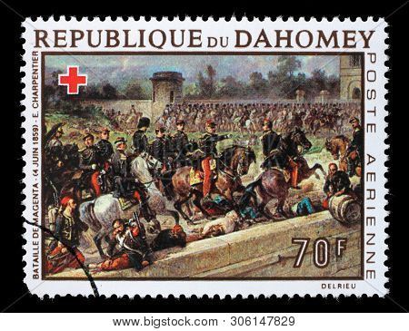 ZAGREB, CROATIA - JULY 03, 2014: A stamp printed in Dahomey shows Battle of Magenta, by Louis Eugene Charpentier, Red Cross series, circa 1968.