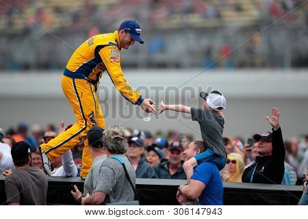 June 09, 2019 - Brooklyn, Michigan, USA: Ty Dillon (13) gets introduced for the FireKeepers Casino 400 at Michigan International Speedway in Brooklyn, Michigan.
