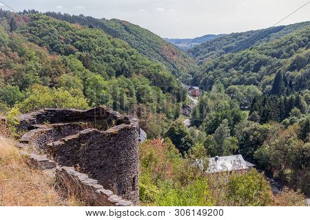 Medieval Ruin Of Brandenbourg Castle At Hill In Luxembourg Ardennes 70 Meter Above Village Of Brande