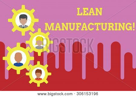 Conceptual hand writing showing Lean Manufacturing. Business photo text Waste Minimization without sacrificing productivity Gearshaped picture frame family ornament Whole Family photo. poster