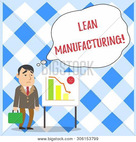 Word writing text Lean Manufacturing. Business concept for Waste Minimization without sacrificing productivity Businessman Clerk with Brief Case Standing Whiteboard Declining Bar Chart. poster