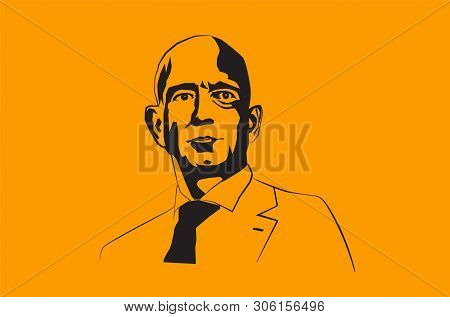 Jul, 2019: The Famous Entrepreneur, Founder And The Richest Man Jeff Bezos Vector Portrait On A Blue