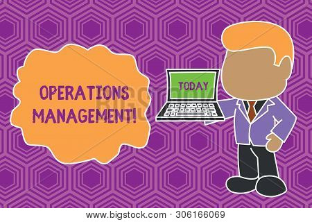 Text sign showing Operations Management. Conceptual photo ensure Inputs to Output the Production and Provision Standing professional businessman holding open laptop right hand side. poster