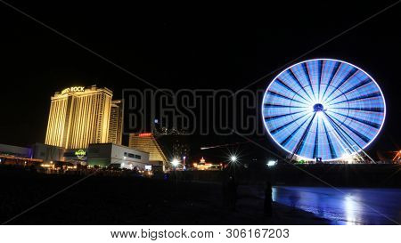 ATLANTIC CITY NEW JERSEY - JULY 5: Ocean View of Casinos, Atlantic city is third largest gambling center in the world  on July 5, 2018 in Atlantic City New Jersey.