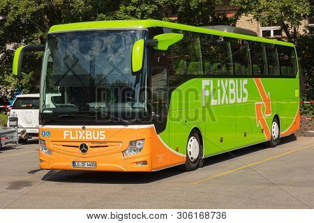 Zurich, Switzerland - May 27, 2019: A Flixbus Bus At A Bus Station In The City Of Zurich. The Flixbu