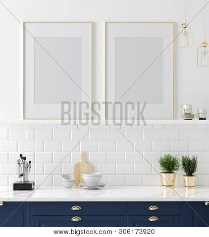 Mock Up Poster Frame Close-up In Kitchen Interior, American Style, 3d Illustration