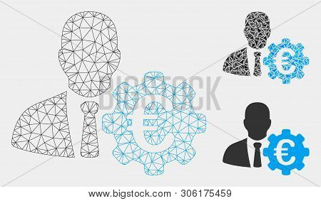Mesh Euro Economist Model With Triangle Mosaic Icon. Wire Frame Polygonal Mesh Of Euro Economist. Ve