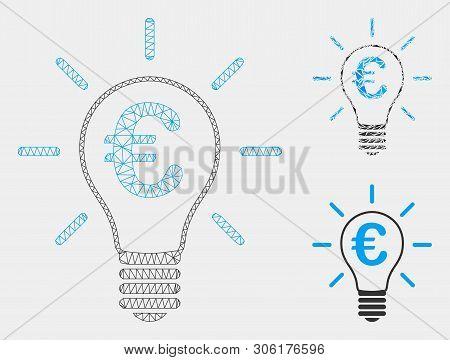 Mesh Euro Idea Bulb Model With Triangle Mosaic Icon. Wire Frame Triangular Mesh Of Euro Idea Bulb. V