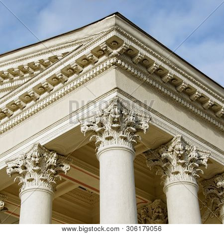 Courthouse. Supreme Court. Ornate Columns And A Pediment In A Style Of Classical Architecture. Legal