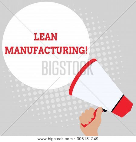 Writing note showing Lean Manufacturing. Business photo showcasing Waste Minimization without sacrificing productivity Office Worker Sunglass Blank Whiteboard Meeting Presentation. poster