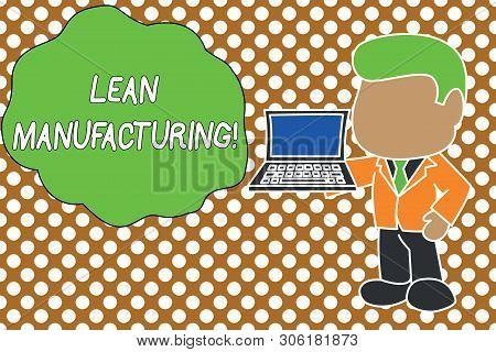 Conceptual hand writing showing Lean Manufacturing. Business photo text Waste Minimization without sacrificing productivity Standing businessman holding open laptop right hand side. poster
