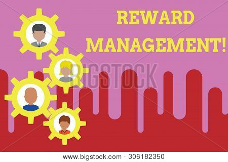 Conceptual hand writing showing Reward Perforanalysisce. Business photo text Appraisal Recognize workers Relative Worth to the company Gearshaped picture frame family ornament Whole Family photo. poster