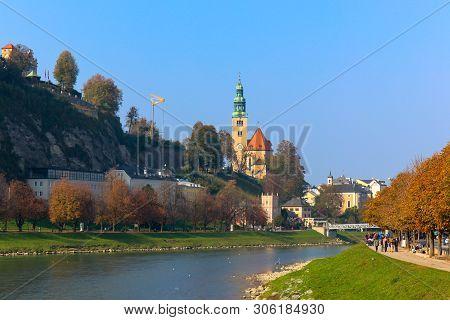 Beautiful View Of Salzburg With Festung Hohensalzburg And Salzach River In Summer, Salzburger Land,