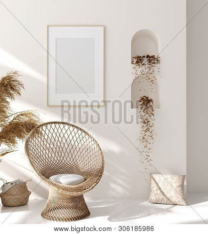 Mock Up Frame In Home Interior Background, Beige Room With Natural Wooden Furniture, Scandinavian St