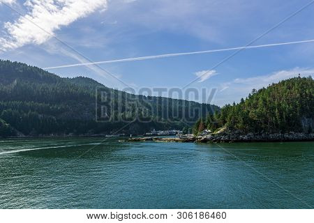 Snug Cove, Canada - June 2, 2019: Landscape View Of The Bay Going To Bowen Island Summer Morning.