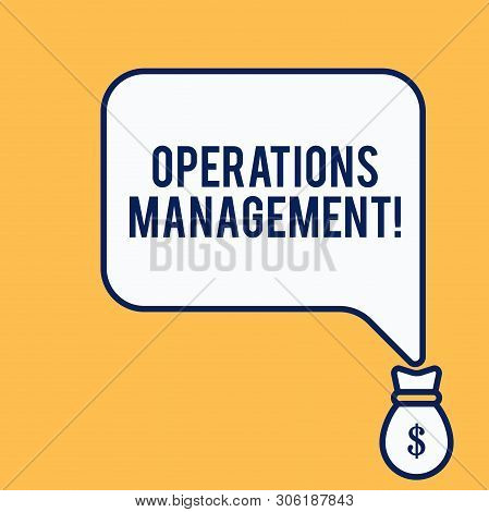 Word writing text Operations Management. Business concept for ensure Inputs to Output the Production and Provision Isolated front view speech bubble pointing down dollar USD money bag icon. poster