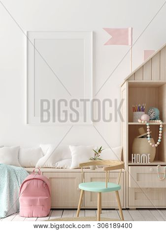 Mock Up Poster, Wall In Children Bedroom Interior Background, Scandinavian Style, 3d Illustration