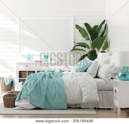 Mock Up Frame In Bedroom Interior, Marine Room With Sea Decor And Furniture, Coastal Style, 3d Illus
